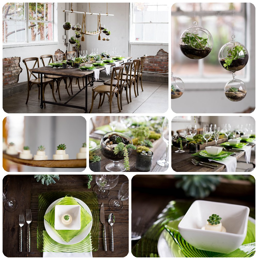Succulent Tablescape and details designed by Bella Calla.