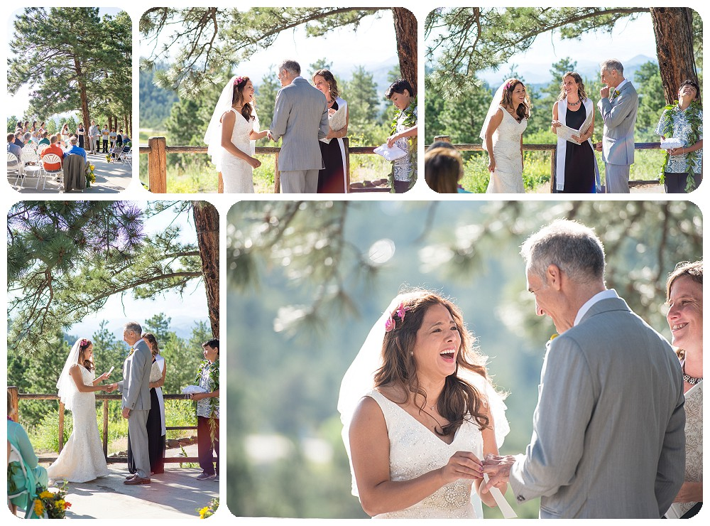 Exchanging vows at Chief Hosa Lodge