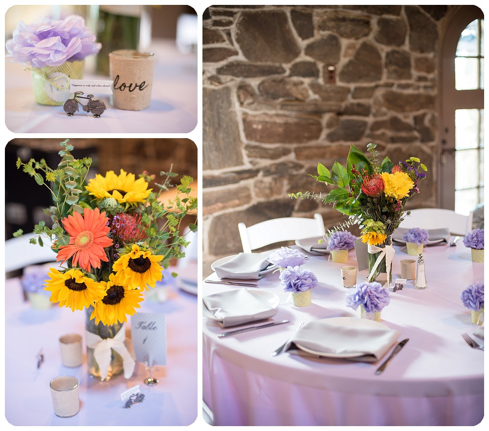 Chief Hosa Lodge Wedding - Sunflower and Bicycle table set up
