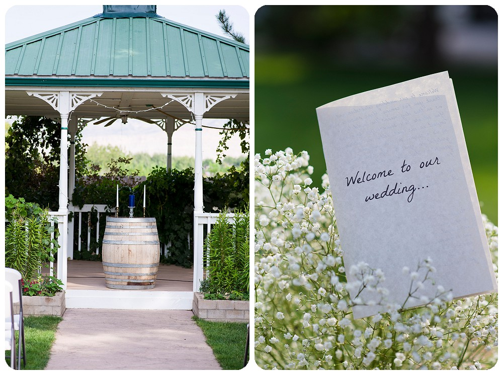 Ceremony set up at Amy's Courtyard Vineyard