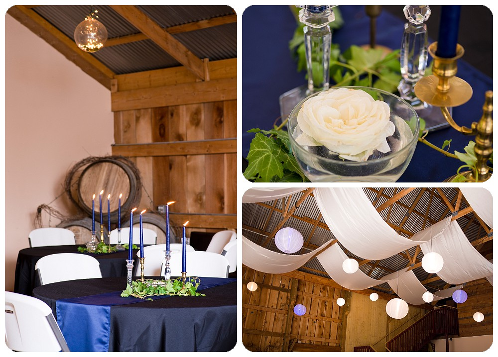 Navy and Gold reception details at Amy's Courtyard