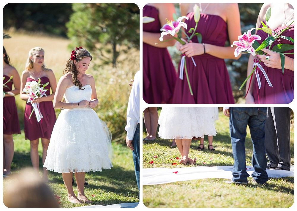 Barefoot bride at the Meadows at Marshdale by Wedding Photographer Rayna McGinnis