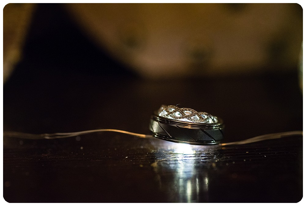 Ring shot with twinkle lights by Evergreen Wedding Photographer, Rayna McGinnis
