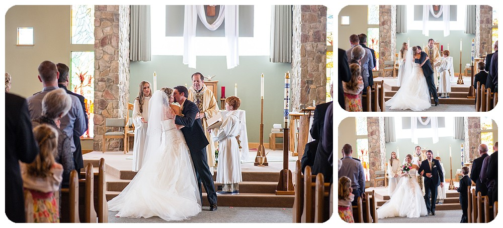 First kiss at Our Lady of Pines Church in Conifer, Colorado