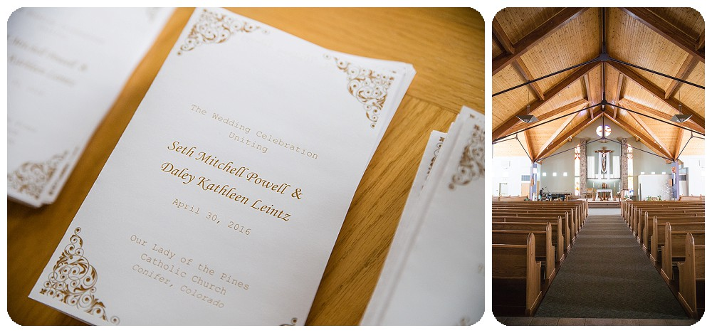Details of Our Lady of Pines Wedding