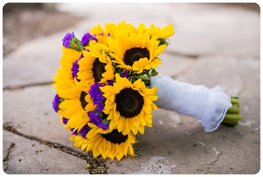 Sunflower wedding bouquet by Blue Moon Floral.