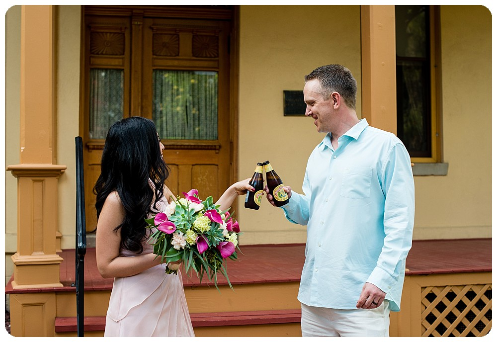 Toasting to their elopement at the Richards Hart Estate