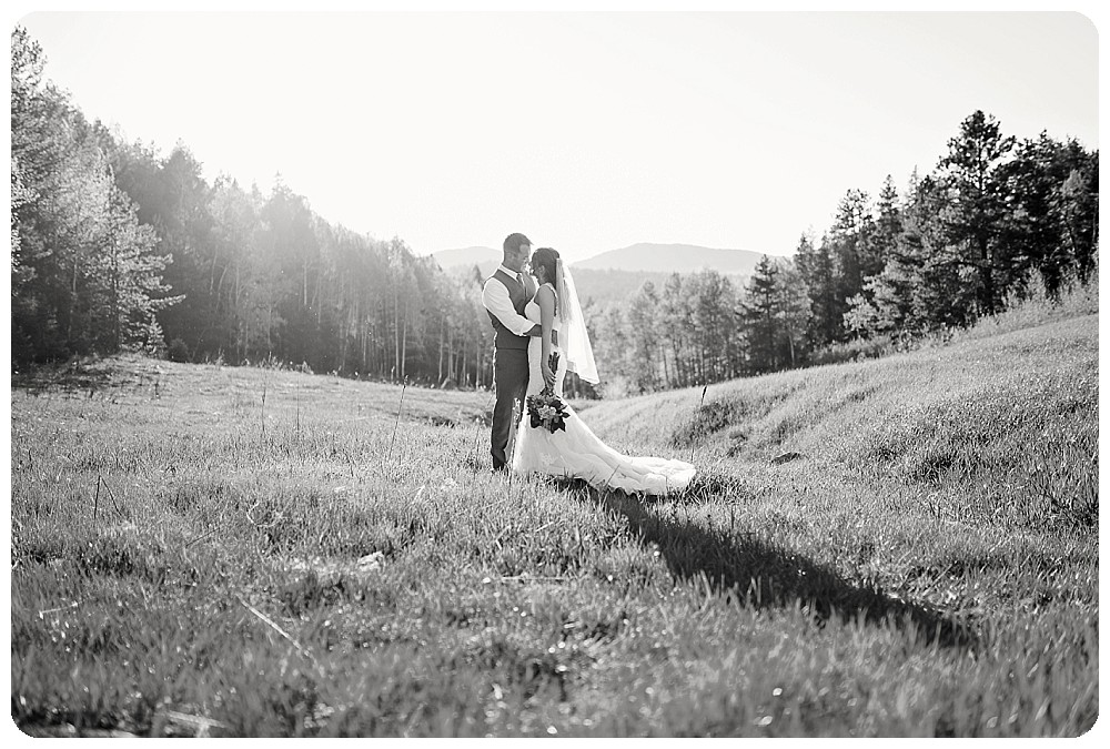 Black and White Wedding Photos at sunset
