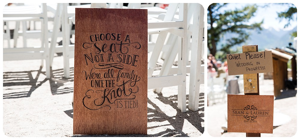 cute wedding ceremony signs at sapphire point