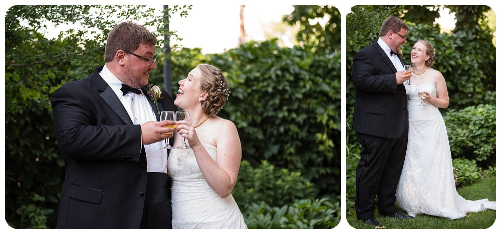 Couple toasting on their wedding day.