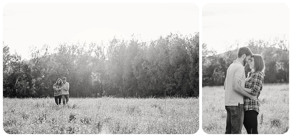 Black and white Lone Hawk Farm Engagement Pictures