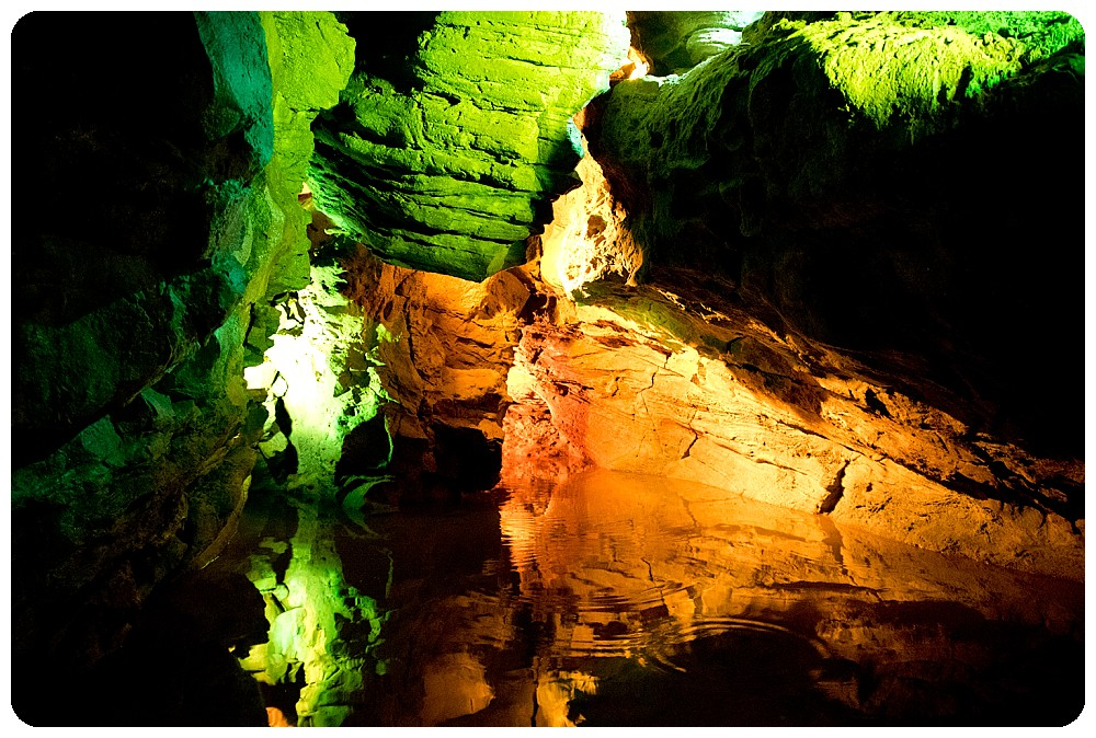 Laurel Caverns lit up by lights.