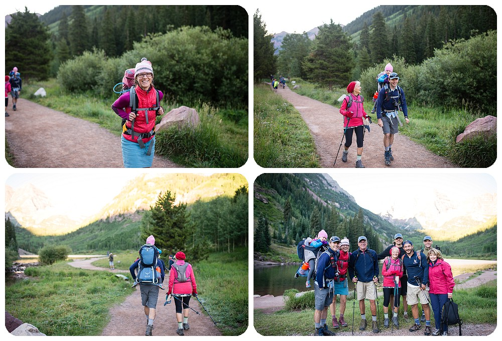 Beth and Joe's guests hiking back to Crater Lake in the Maroon Bells Wilderness.