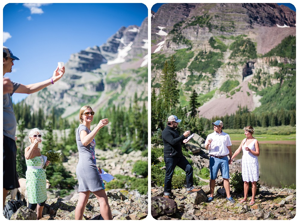 Guests toasting at Maroon Bells Wedding Ceremony