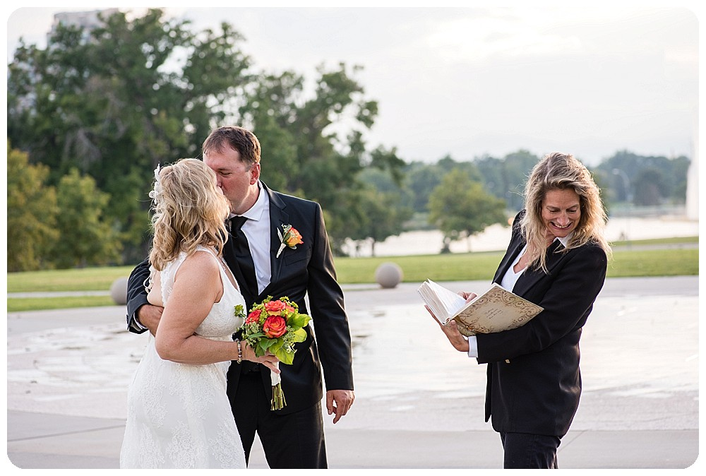 First Kiss at Denver Elopement in City Park