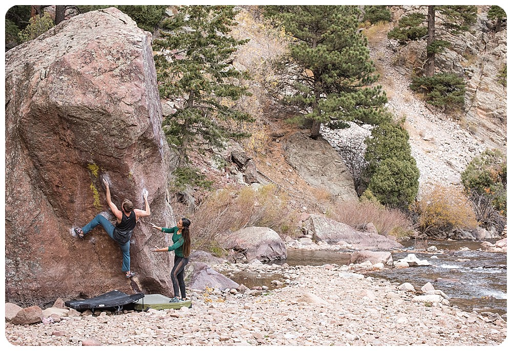 Bouldering on Resonated in Eldorado Canyon