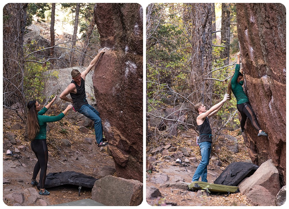 rock climbing couples session on the Gill Boulder