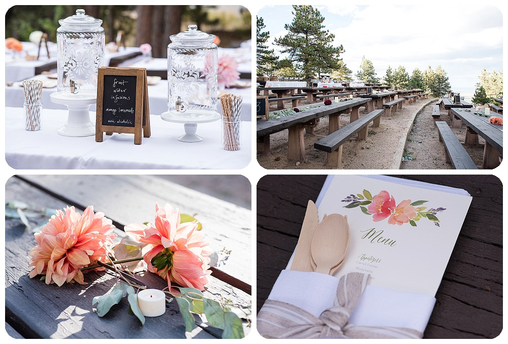 Reception details at Sunrise Amphitheater Wedding in Bouder Colorado