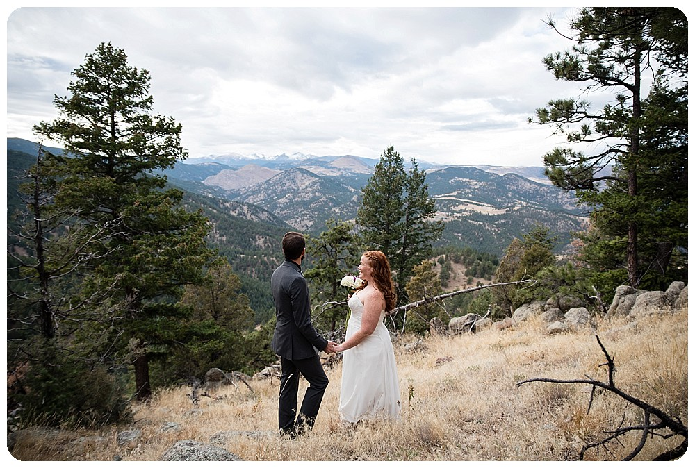 Bride and groom looking at the continental divide.