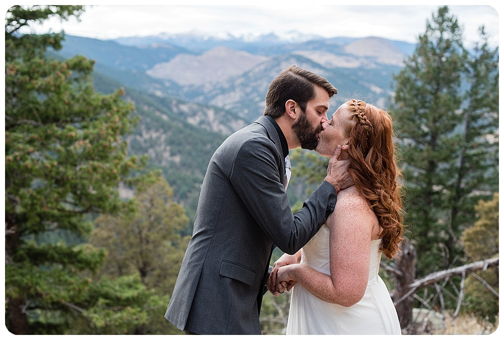 First kiss by Boulder Elopement Photogrpaher, Rayna Mcginnis