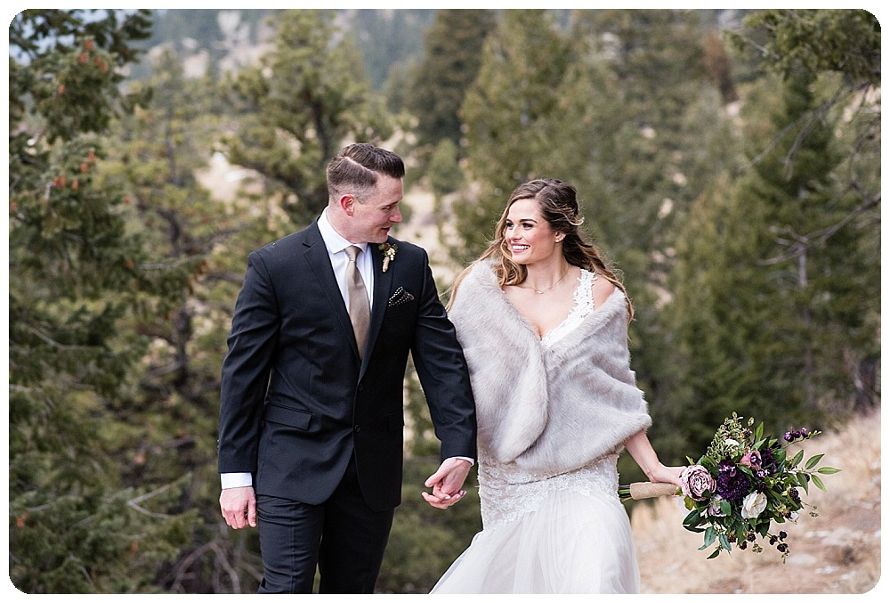 Bride and groom at Colorado Winter Elopement