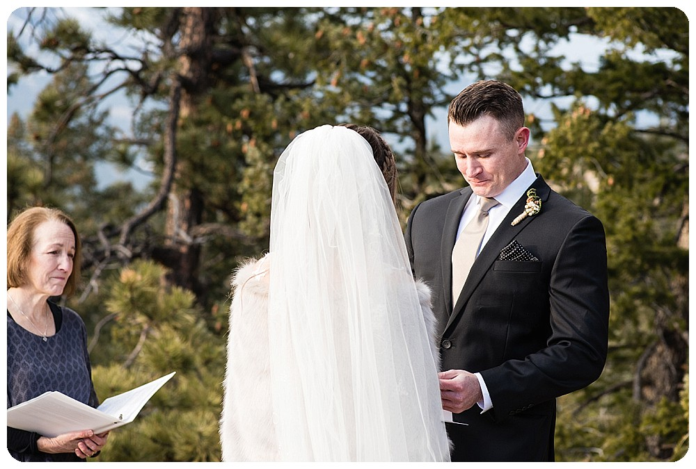 Groom saying his vows