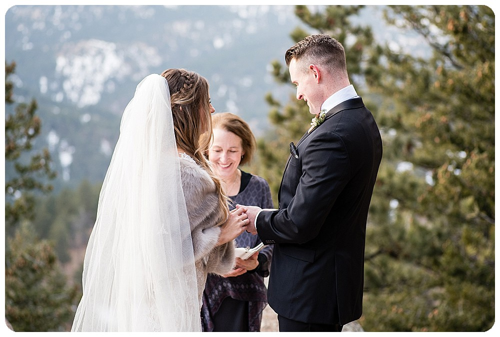 Ring exchange at Colorado Winter Elopement