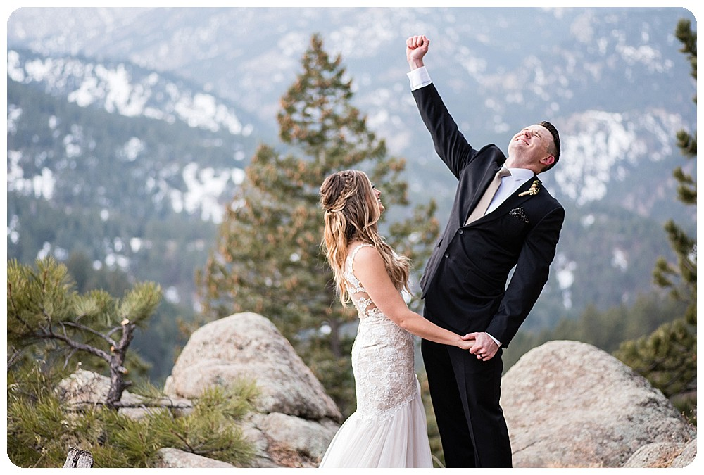 Groom celebrating Colorado Winter Elopement