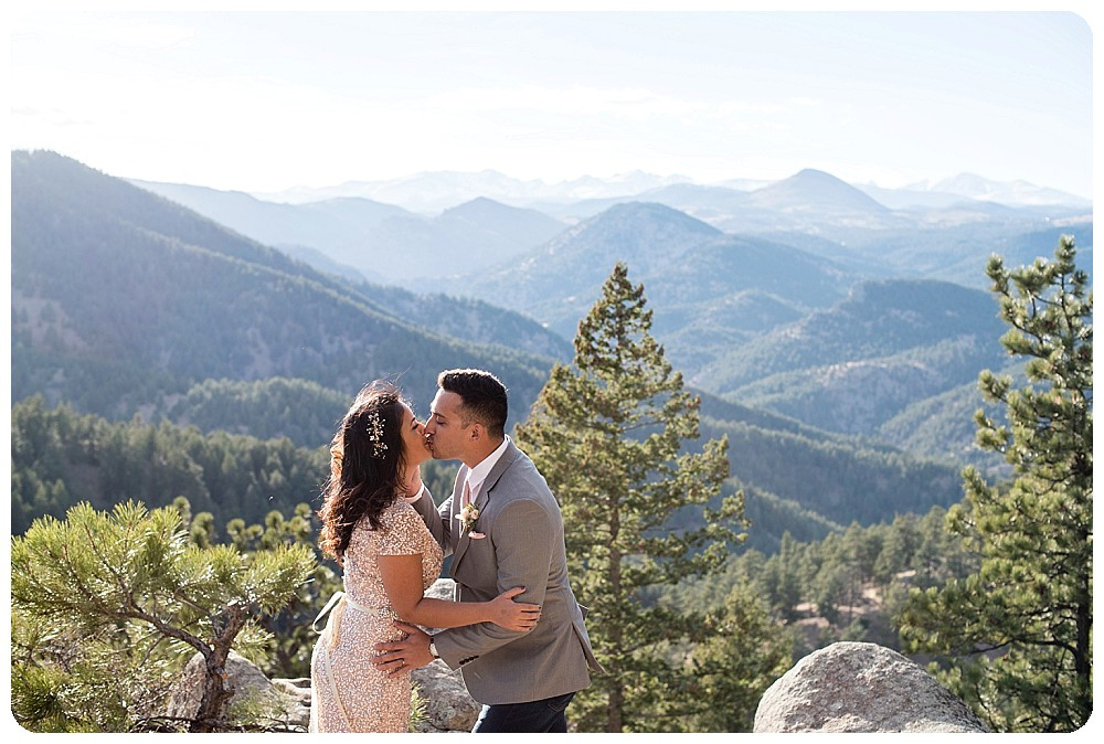 Destination Elopement in Colorado - first kiss