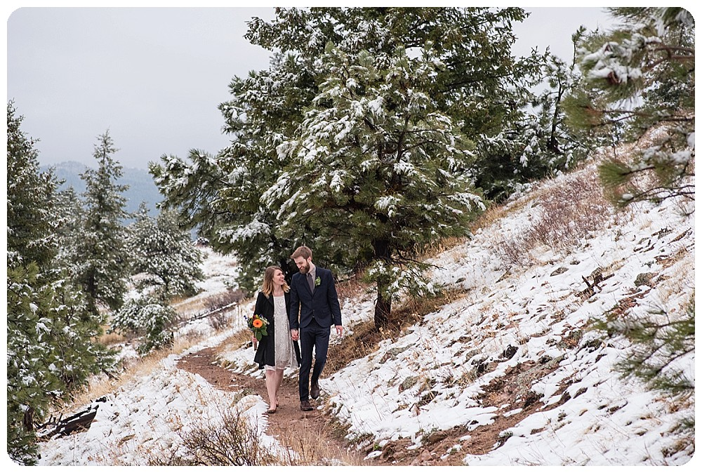 Bride and Groom walking out of their mountain elopement