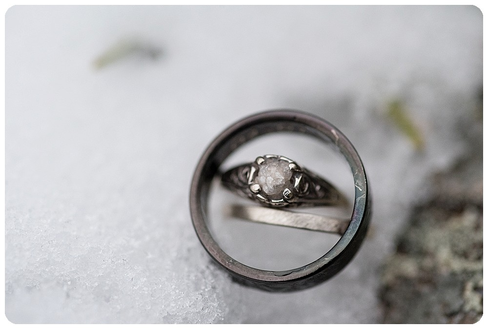 Raw Diamond Engagement ring at Colorado Elopement
