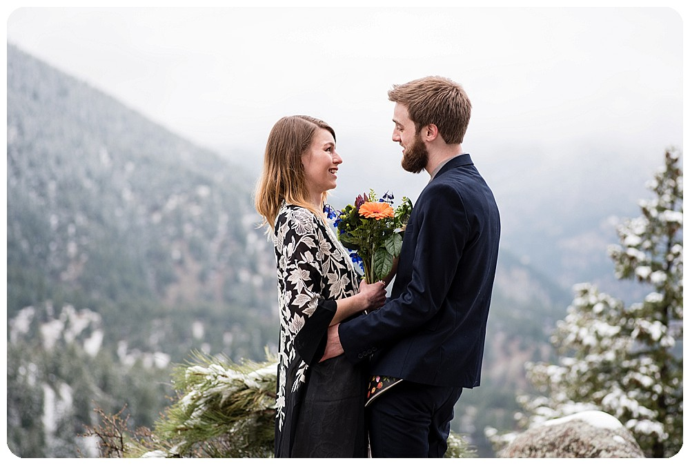 Krystal and Alek saying I do at their Colorado Elopement Ceremony