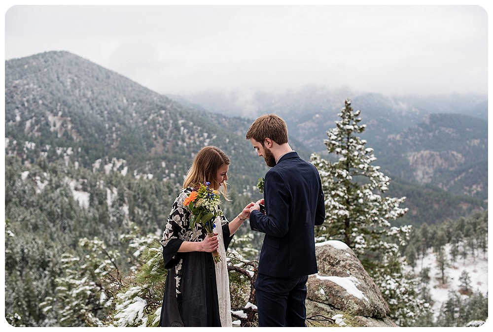 Ring Exchange at Colorado Elopement