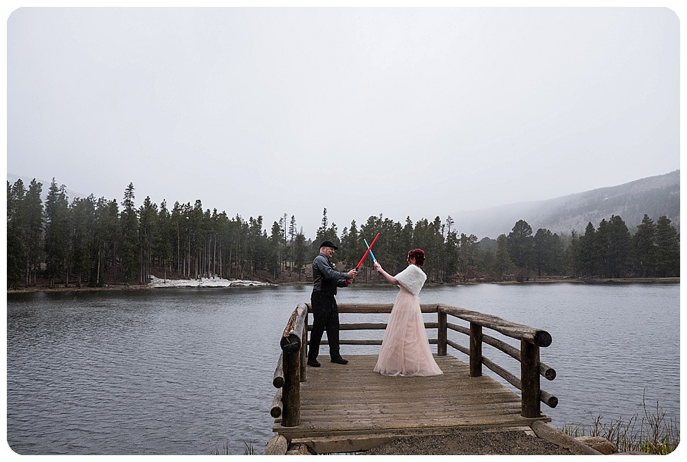 Sprague Lake Elopement with Light Saber Battke