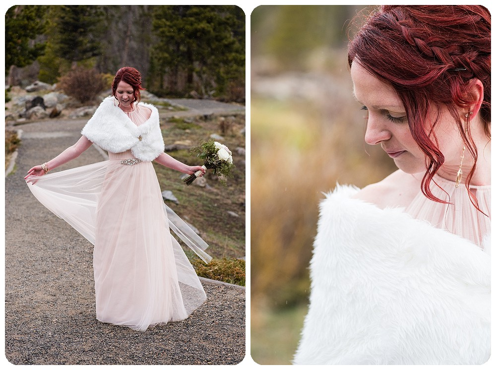 Bride at Rocky Mountain National Park Elopement