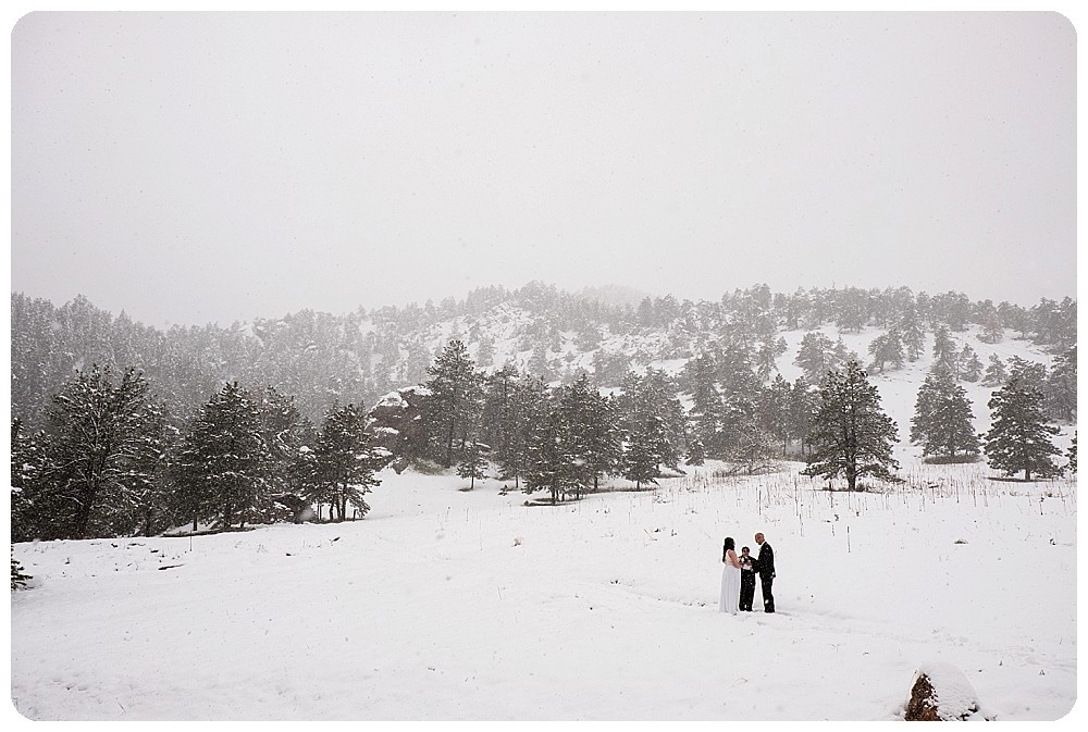 Snowy elopement in Boulder, Colorado