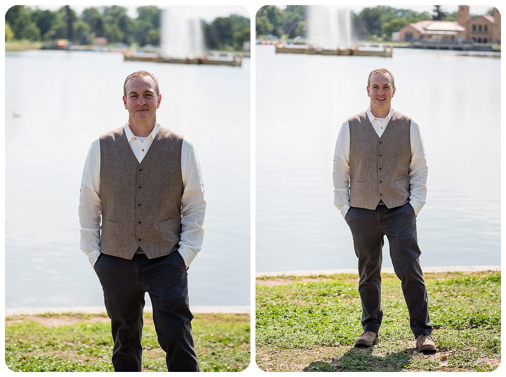 Groom at City Park Pavilion Wedding