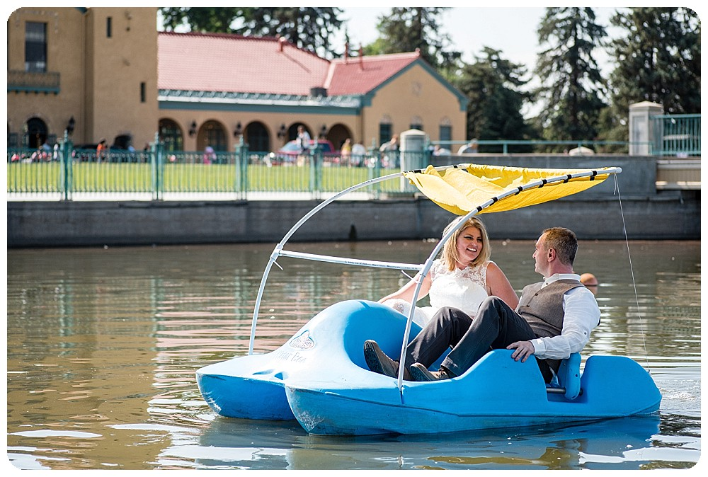 Paddle boats at City Park Pavilion Wedding