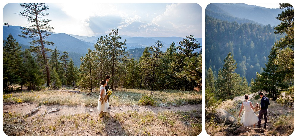 Bride and Groom walking in to Colorado Mountain Elopement