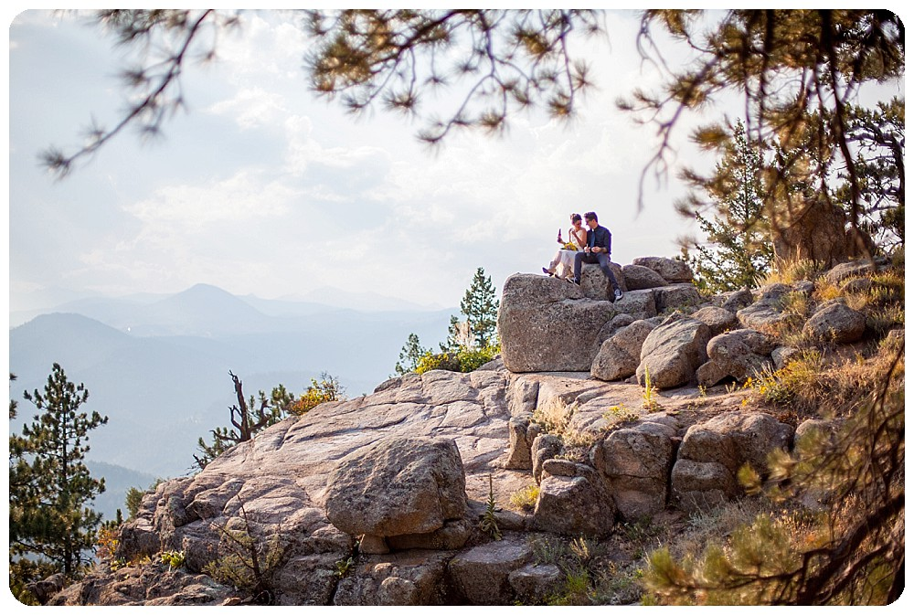 Colorado Mountain Elopement Couples Photos sharing a beer