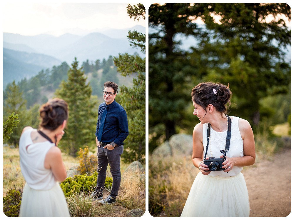 bride photographing groom at Colorado Mountain Elopement