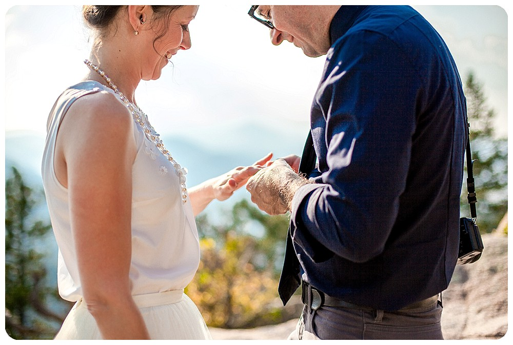 Colorado Mountain Elopement Ceremony Ring Exchange