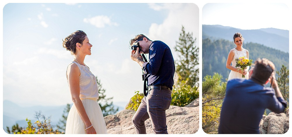 Groom photographing bride at Colorado Mountain Elopement