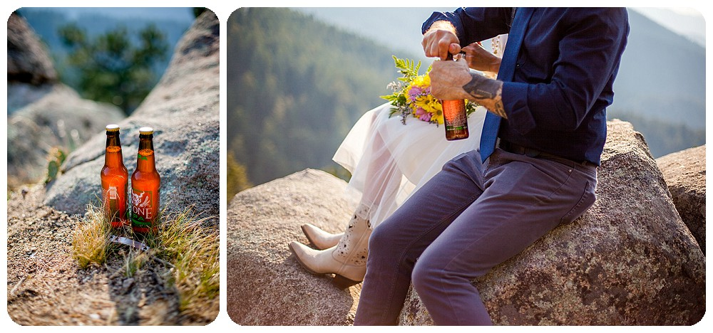Bride and groom sharing a beer at their mountain elopement