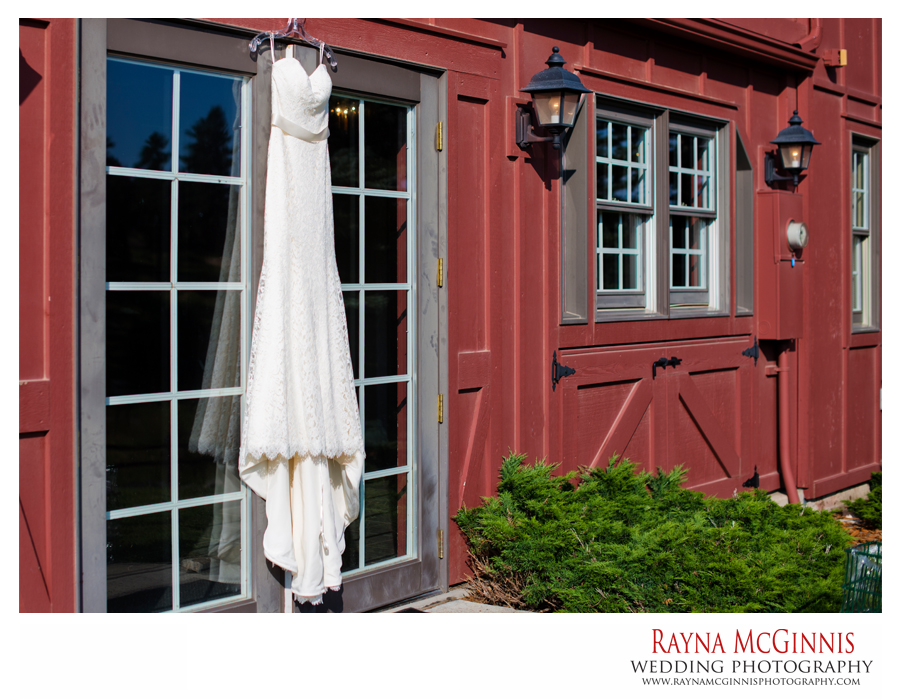 Wedding dress hanging at the Red Barn in Evergreen, Colorado