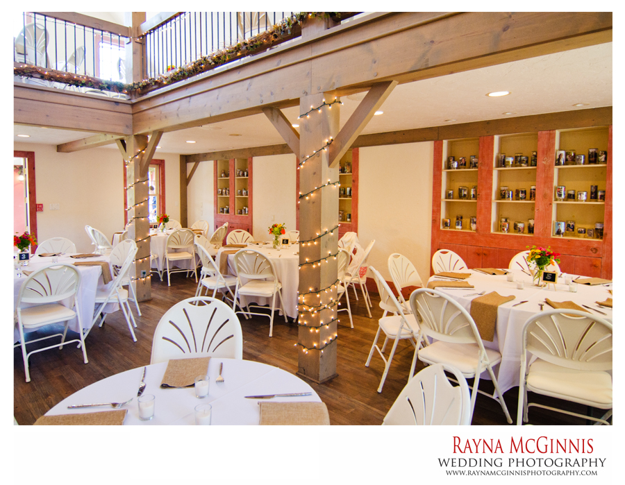 The inside of the red barn at meadows at marshdale