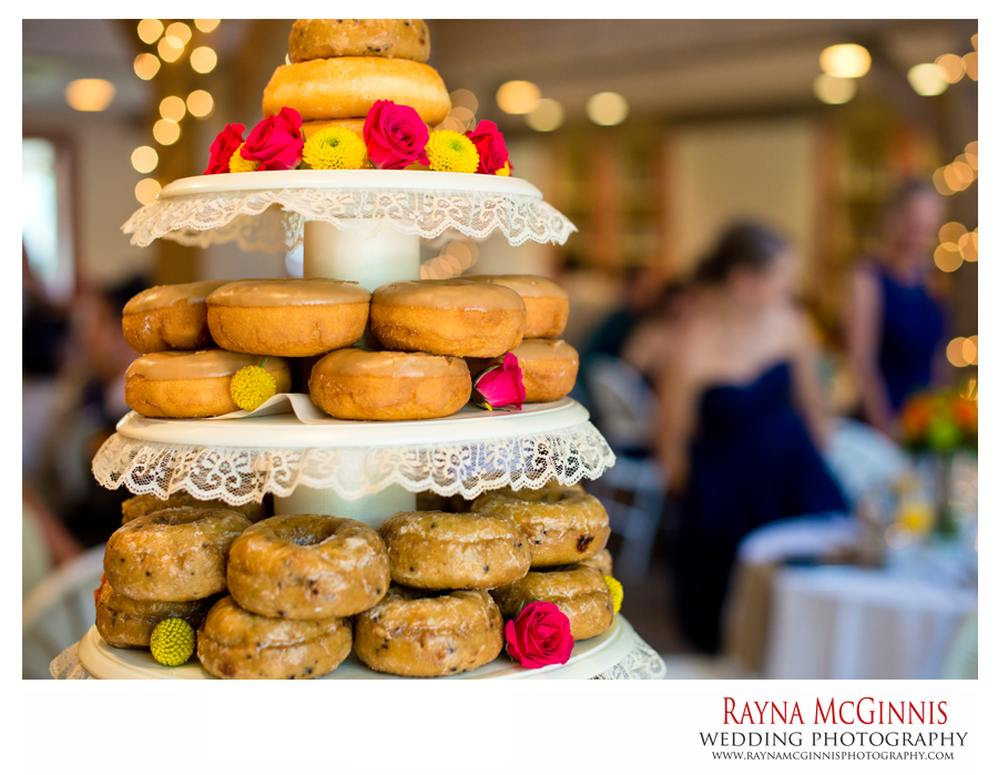 donut wedding cake at meadows at marshdale