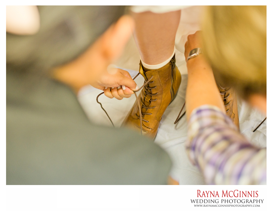 Bride wearing hiking boots
