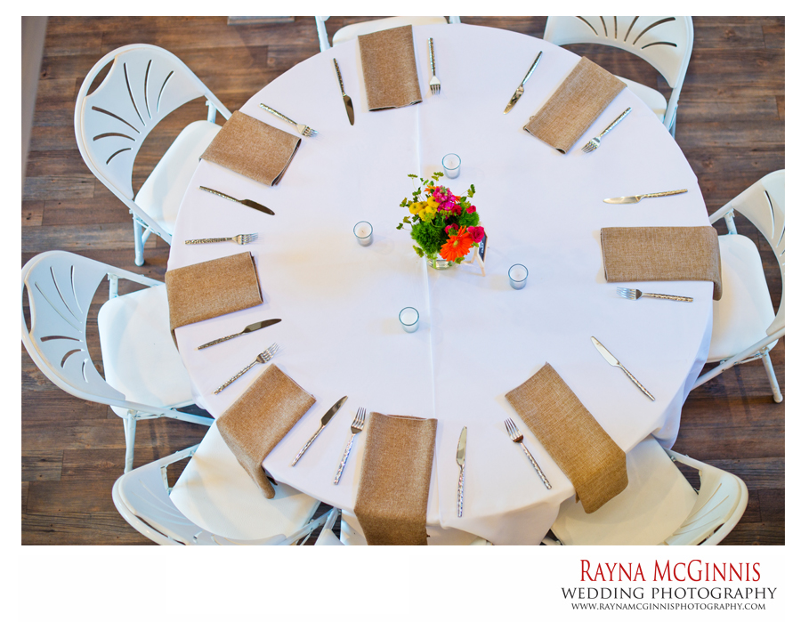 simple burlap tables at evergreen wedding
