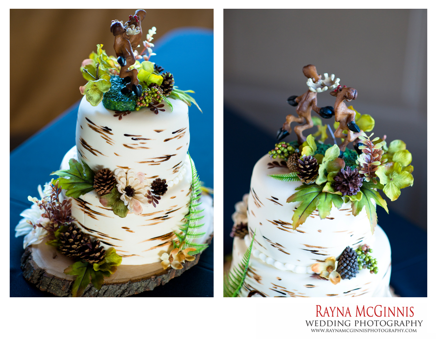 Wedding cake with a moose on it at Ellis Ranch